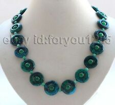"Green Circle Malachite Necklace #f2874! 21"" 3rows Genuine Natural 20mm"