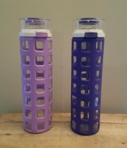 2  Ello Syndicate Glass Water Bottle with One-Touch Flip Lid Blue BPA Free