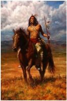 ZOPT246 100% handpainted  Indian ride horse hunting art OIL PAINTING ON CANVAS