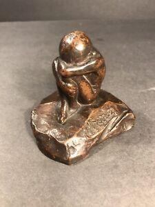 Antique Child Bronze Statue/ Signed H. Crenier/ Huddled Child/ C.1930/ Art Deco