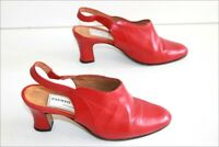 FAUSTO ROSSI Escarpins Vintage Tout Cuir Rouge Talons Ouverts T 34 TBE