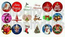 """50 x 1"""" Inch Pre Cut Bottle Cap Images Christmas Xmas Santa Mix 2 Pictures bows"""