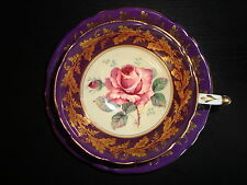 Rare Vintage Paragon 1939 Purple Tea Cup & Saucer with Cabbage Pink Rose & Gold