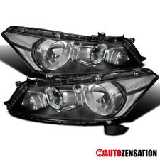 For 2008-2012 Honda Accord 4Dr Sedan Black Headlights Head Lamps Pair