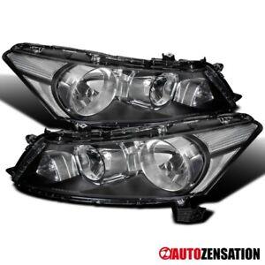 For 2008-2012 Honda Accord 4Dr Sedan Black Headlights Head Lamps Pair 09 10 11