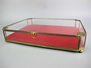 """Vintage tabletop glass & brass Collectors Jewellery Display Cabinet Case Box 14"""""""