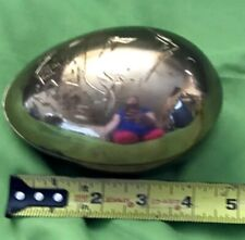 Vintage Brass, Egg shaped Trinket Box, Easter Egg, Collectible Brass, Asian Char