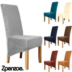 1/4/6X Velvet Dining Chair Covers Stretchable Wedding Christmas Slipcover Decor
