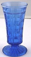 "Vase Cobalt Blue Unmarked 5.25"" tall Vintage Pressed Sawtooth Square Vintage"