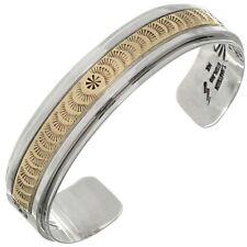 Gold Silver Hammered Men's Cuff Overlaid Bracelet Size 8.5