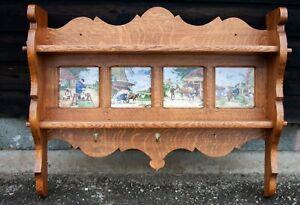French Oak Wall Hanging Tiled Shelf Unit with Styled Hooks (WHCO1)