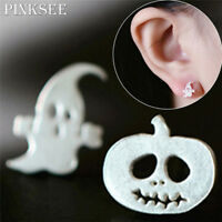 1 Pair Pumpkin Halloween Ghost Ear Silver Stud Dangle Hoop Drop Earrings Jewelry