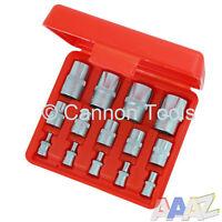 "14 piece E Torx Socket Set Star Female Sockets 1/4"" 3/8"" 1/2"" Garage Tool"