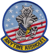 United States Navy USN Grumman F-14 Tomcat 'Anytime Asshole!' Embroidered Patch
