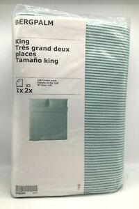 New IKEA BERGPALM King Duvet cover and pillowcase(s), white/green, stripe