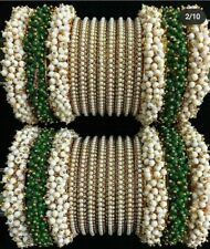 Bollywood Indian Bridal Wedding Style Hands Bangles Set Gold Plated Pearl Green