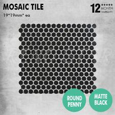 19*19mm Mosaic Tile Matt Black Porcelain 6mm Penny Round 1 SQM for Floor Wall