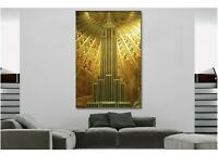 Gold Empire State Building Art Deco Canvas Wall Art Print - Various Sizes
