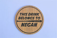 Negan's Drink -The Walking Dead Coaster Lucille Zombie Walkers Gift