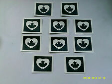 20 x Canadian Maple leaf heart stencils for glitter tattoos Canada Day fundraise