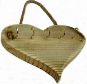 LOVE HEART Key Holder Storage Hooks Wall Mounted Wood Rack Hanger WOOD Rustic