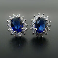 Solid 925 Sterling Silver Classic Blue Sapphire CZ Stud Earrings Jewellery II