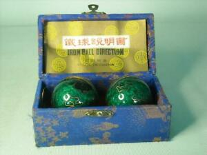 Boxed BAODING MUSICAL BALLS Acupuncture Point Stimulation Cloisonne Style Fish