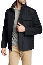 ANDREW MARC Caldwell Black Faux Fur Trim Jacket Size Large  NWT