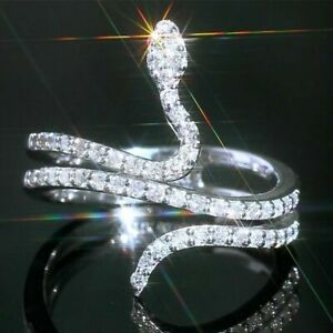 Fashion Snake Women Crystal Silver Rings Jewelry White Sapphire Rings Size 6-10