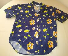 Impressions of california womens blouse size small navy blue floral button up