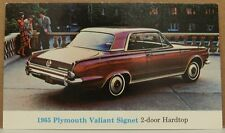 1965 65 PLYMOUTH VALIANT SIGNET 2DR MOPAR DEALER DEALERSHIP PROMO POSTCARD