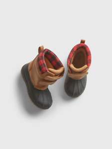 NEW $70 GAP Toddler Rubber Duck Boots / Rain Boots with Plaid Trim Size 7/8