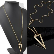 Vintage Fashion Women Lady Triangle Pendant Long Chain Charm Necklace Gold Gift
