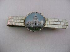Rare Vintage Tie Clip Clasp Bar: Washington DC ~ Reverse Painted Glass ~