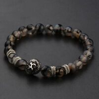 Natural Stone Silver Shim Lion Head Energy Women Men Charm Bracelets Jewelry