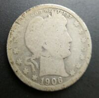1906 O Barber Quarter - Good G Condition Y visible in Liberty Original surfaces