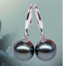 10mm Genuine Natural Black South Sea Shell Pearl Dangle Earrings AAA