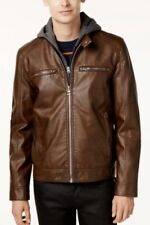 Guess Mens Faux-Leather Jacket with Detachable hood.