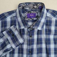 Tallia Button Up Shirt Mens XL/17.5 Blue White Long Sleeve Flannel Plaid Casual
