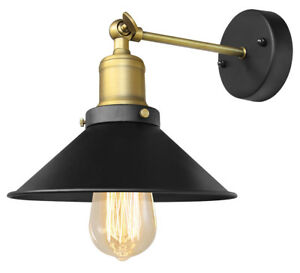 Modern Vintage Industrial Antique Brass Black Scone Wall Light Lamp Shade WD025