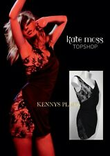 KATE MOSS TOPSHOP Beaded Lace Bodycon Dress UK12 US8 EU40 *WORN ONCE* Black Nude