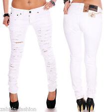 Damen Jeans Designer Hose Straight cut Top Clubwear Weiß Slim Fit Sommer NEU WOW