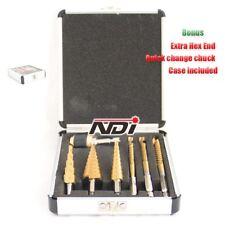 7PCS HSS Step Steel Step + Saw Drill Titanium Bit Set Hole Cutter + Case ND1006