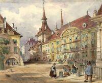 Ellis, Town Square, Lucerne – Original mid-19th-century watercolour painting