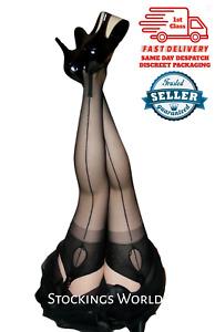 Fully Fashioned Stockings NYLONS Seamed Cuban Heel KEY HOLE WELT Black M/L NEW!