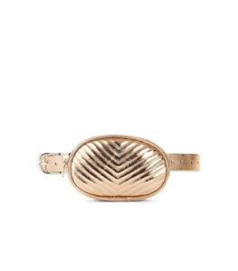 No Boundaries Rose Gold Quilt Faux Leather Belt Bag, S/M