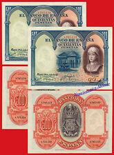 PAREJA 500 PESETAS 1927 ISABEL LA CATOLICA Pick 73c EBC+ / XF