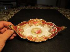 Beautiful VTG Nppon Pink Roses With Gold End Handled Porcelain Bowl