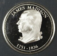 James Madison Proof Silver Medal, By The Franklin Mint, Sterling Silver Medal