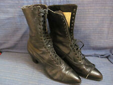 Antique Victorian Edwardian Womens Black Leather Lace Up Boots Shoes
